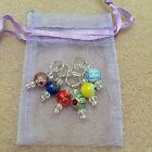 Hand Beaded millefiori Stitch Markers for Knitting or Crochet