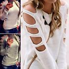 Womens Cut Out Long Sleeve Knitwear Sweater Jumper Ladies Casual Pullover Tops