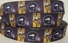 "GROSGRAIN MINNESOTA VIKINGS FOOTBALL 7/8"" INCH GROSGRAIN RIBBON FOR HAIR BOWS $4.2 USD on eBay"