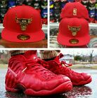 Matching New Era Chicago Bulls Metal Badge Logo Fitted hat Nike Foamposite Red