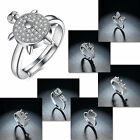 Popular Women Silver Plated Cubic Zircon Lady Adjustable Ring Wedding Jewelry