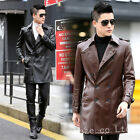 Men's Slim Stylish Trench Coat Winter Long Jacket Leather Overcoat Belted M-5XL