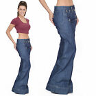 60s 70s Retro Stonewash Blue Faded Bell Bottoms Hippy Flares Wide Flared Jeans