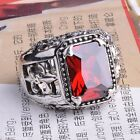 Men's Fashion Retro Style Jewelry Ring Silver Material w/ Red Gemstone SZ15-1189
