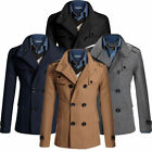 Winter Thick Top Men Slim Trench Coat Double Breasted Long Jacket Wool M-2XL