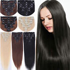 """CLIP-In HUMAN HAIR EXTENSIONS FULL HEAD 15"""" 20""""24""""26"""" Straight Wavy Curly Unisex"""