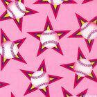 Baseball Star Pink Crafting, Quilting Cotton Fabric YOUR LENGTH