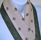 HARRIS TWEED & VINTAGE COUNTRY scarves Christmas Winter BEIGE DOG HORSE DUCKS