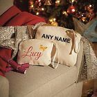 PERSONALISED ORGANIC MAKE UP BAG WITH GLITTER NAME WRISTLET MAKEUP GIFT PRESENT