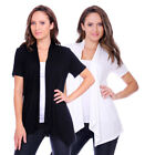 Lightweight Rayon Span Open Short Sleeve Cardigan Plus Size (Size: S-5X)