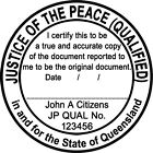QLD JP07 JUSTICE OF THE PEACE Queensland Custom Flash Stamp Self Inking Refillab