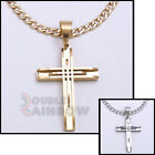 """18-36""""men Stainless steel Gold Silver Black Cross Pendant Cuban Necklace Chain#2"""