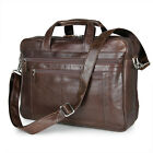 Men's Large Capacity Travel Tote Genuine Leather Luggage Bag Laptop Briefcase