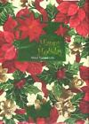 Vinyl Tablecloth with Flannel Back Happy Holiday with Poinsettia Hollies