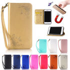 Rose Card Slot Flip Magnetic Wallet PU Leather Stand Case Cover for iPhone Skin