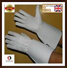 PIPER DRUMMER WHITE LEATHER GAUNTLETS GLOVES Real Leather