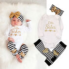 0-18M Newborn Baby Girl Boy Rompers Pants Hairband Bodysuit Clothes Outfit Set