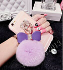 Cute Bowknot Pendant Warm Furry Rabbit Fur Ball Soft Clear Case Cover For Phones
