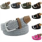 Elastic Braided Belts For Men Women Pin Buckle PU Leather Stretch Webbing Casual