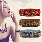 1X Women Multi Gravel Stone Rhinestone Wristband Bracelet Bangle PU Leather Band