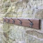 Walnut Coat Rack with cast iron Hooks