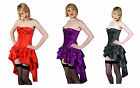 Womens Satin Full Bust Sexy Burlesque Steel Boned Basque Corset UK Sizes 8 - 26