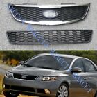 A SET Chrome FRONT Bumper UPPER + LOWER GRILLE For Kia Forte 2010-2013