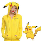 Pikachu Hoodie Pokemon Pocket Monster Giallo Giacca Felpa cosplay Costume