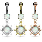 1pc Opal Glitter Center Yacht Ship Wheel Belly Button Ring Pierced Navel Naval
