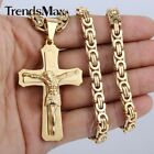 "20-24""MEN BOY Stainless Steel Gold/Silver 6mm Chain Necklace Jesus Cross Pendant"
