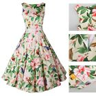 Vintage Style Floral Printed Rock Dress Swing Women Cocktail Party Dress Apricot