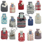 LARGE 2L LITRE HOT WATER BOTTLE WITH KNITTED FLEECE COVERS MANY DESIGNS COLOURS