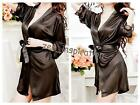 2PCS Ladies Sexy Satin Lace Robe Lingerie G-string Intimates (black) One size