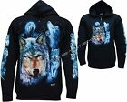 New Wolf Pack Wolves Howling Moon Biker Zip Zipped Hoodie Hoody Jacket M- 3XL