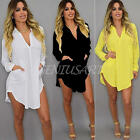 New Casual Womens Blouse Chiffon Long Sleeve Ladies Top T shirt Loose Short Tops