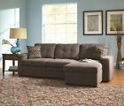 Charcoal Tufted Convertable Sectional Sleeper Sofa w/ Pull Out Bed