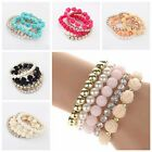 1X Women Multilayer Flower Faux Pearl Rhinestone Beaded Elastic Bracelet 7Colors