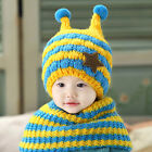 Baby Toddler Boy Winter Warm Wool Bee Earflap Beanie Cap Knitted Hat & Scarf Set