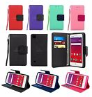 For LG Tribute HD LS676 / X Style Leather Wallet Case Cover w/ Card Holder Strap