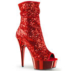 "DELIGHT-1008SQ, 6"" Heel Peep Toe Sequins Ankle Boot in Red"