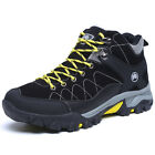 GOMNEAR men winter Fur Lined trail hiking boots wearable non slip outdoor shoes
