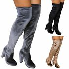 NEW LADIES WOMENS VELVET THIGH HIGH OVER THE KNEE BLOCK HEEL BOOTS SHOES SIZE