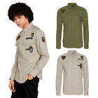 Brave Soul Mens Admiral Button Up Shirt New Designer Military Budges Cotton Top