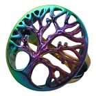 316L Men Women Round Hollow Out Rainbow Tree of  Life Finger Biker Ring Jewelry