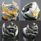 "Stainless Steel Military Hawk Eagle ""Live To Ride,Ride To Live""Finger Biker Ring"