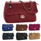 Big Handbag Shop Womens Quilted Twist Lock Shoulder Bag