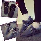 Haimi-hk Women Flats Casual Dress Stitched Faux Fur Ladies Slip On Loafers Shoes