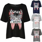 Womens Ladies Angels America Bald Eagle Printed Batwing Sleeve Tunic T Shirt Top