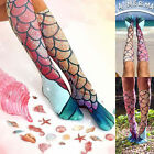 1pair Festival Cosplay Women Fish Scale Pattern Ladies Casual Animal Print Socks
