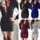 Womens Ladies Lace Up Knitted Bodycon Jumper Dress Autumn Bodycon Party Dresses